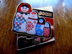 Kellogg OFFICIAL 2014 SOCHI OLYMPIC Pin 4 Nesting Russian Dolls Sponsor Dated