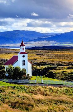 white country church, Helgafell Mountain in western Iceland
