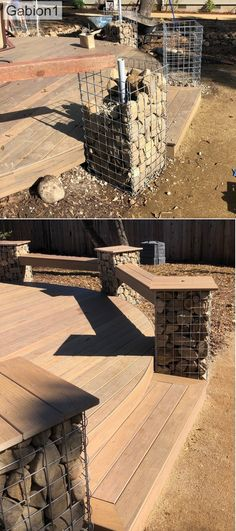 Simple Yet Elegant Modern Landscaping Design Tips – My Best Rock Landscaping Ideas Gabion Fence, Gabion Wall, Backyard Seating, Backyard Patio Designs, Modern Landscaping, Backyard Landscaping, Gabion Baskets, Outdoor Baths, Outdoor Gardens