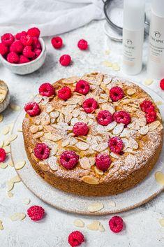 Raspberry and Almond Cake Recipe – Tropic Skincare Raspberry And Almond Cake, Ground Almonds, Almond Cakes, Vanilla Essence, Cake Servings, Cake Tins, Vegan Cake, Round Cakes, Base Foods