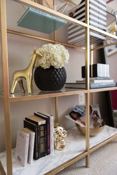 These 22 Ikea DIY hacks are seriously genius! I've been needing some cheap ways to dress up my furniture and this has definitely helped A LOT! There is everything here from dressers to desks, to baby changing tables! Ikea Bookcase, Ikea Shelves, Room Shelves, Ikea Shelf Hack, Gold Bookshelf, Bookcases, Decorate Bookshelves, Bedroom Bookshelf, Office Bookshelves