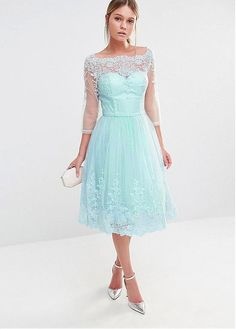 0989fc18530 Buy discount Junoesque Tulle Bateau Neckline Tea-length A-line Bridesmaid Dresses  With Lace