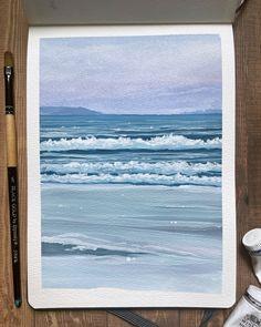 Watercolor Paper, Watercolor Paintings, Gouache Paint Set, Liquitex, Crashing Waves, Art Tips, Art Supplies, Painting & Drawing, Landscape Paintings