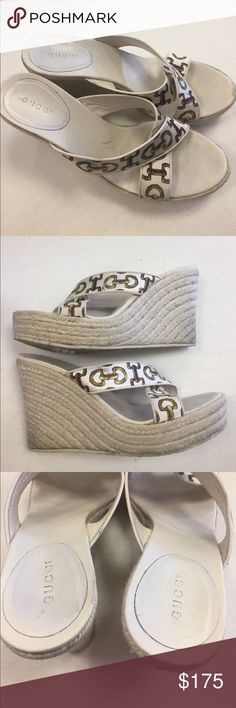 Gucci Horsebit Wedges Excellent condition - Price firm no trades - buy for less & more pics at www.chicboutiqueconsignments.com! MA's #1 designer consignment boutique! Gucci Shoes Wedges