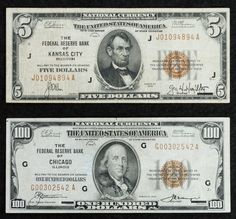 Lot 1: 1929 National Currency Assortment F/VF; Two notes including $5 Kansas City, $100 Chicago