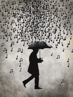 Umbrella music rain men save from music rain
