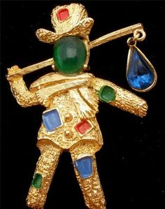 Vintage Florenza Hobo Figural Brooch Rhinestone Enamel Pin Estate Jewelry | eBay