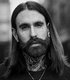Ricki Hall - dark beard big mustache long hair beards bearded man men tattoos tattooed portrait mens' style #beardsforever