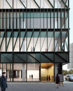 Mecanoo plans namdeamun office building in south korea office building arch Architecture Design, Office Building Architecture, Building Exterior, Building Facade, Facade Design, Futuristic Architecture, Sustainable Architecture, Building Design, Office Buildings