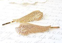 Golden Feather Angel Wing Hair Pins - Angel Wing Bobby Pins - Bird - Flight - Woodland Hair - Wedding Hair - Bridal
