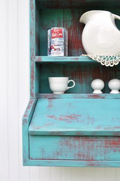 Rustic Hanging Secretary Wall Cabinet Shelves Aqua Turquoise Red Cubby Lidded Compartment Weathered Shelf Storage Ready to Ship