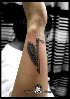 Tattoos often represent thoughts and feelings that we have not spoken about or acknowledged, even to ourselves. Peacock Feather Tattoo, Feather Tattoo Design, Tattoo Designs Wrist, Tattoo Designs For Girls, Feather Tattoos, Tribal Tattoos, Hindu Tattoos, God Tattoos, Dream Tattoos