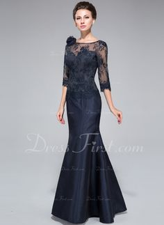 Trumpet/Mermaid Off-the-Shoulder Floor-Length Taffeta Lace Mother of the Bride Dress With Flower(s) (008040831) - DressFirst