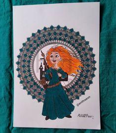 Merida 👸 Mandala Design, Mandala Art, Pencil Art Drawings, Disney Princesses, Merida, Drawing Ideas, Ideas For Drawing, Disney Princess, Disney Princes