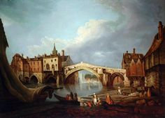 Old Ouse Bridge by Joseph Farington (1784).  Built in 1565-6, the bridge was described at the time as the finest arch in England. The painting shows King's Staith in the foreground and Pudding Steps where women would do their washing. Currently on show at Fairfax House in York, the painting is normally held in the Merchant Adventurers' Hall in York.