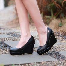 Bombas negro moda mujer zapatos de las cuñas de la PU 2015 nuevos de tacón alto 10 CM plataforma 3 CM 34-39(China (Mainland))