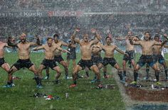 """I'm Sure Glad This has an Explanation. . .  The New Zealand rugby team performs the """"Haka"""" dance after defeating England. (AP Photo/Kin Cheung)"""