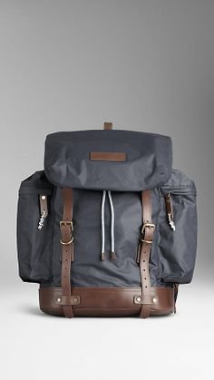 Leather trim backpack by Burberry, $595.