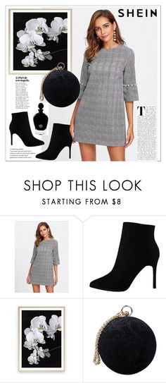 """Shein. Pearl Beading Trumpet Sleeve Plaid Dress"" by natalyapril1976 on Polyvore featuring Carvela and EB Florals"