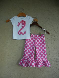 Birthday Polka Dot Double Ruffle Pant Set  Sizes by theuptownbaby, $42.50