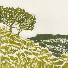 'Yorkshire Dales I' linocut print