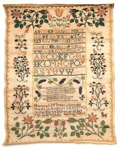 "Delaware sampler stitched by 11 year old Hannah McIntier in 1790.  A beautiful example of the "" fruit and flower"" style typical of New Castle County.  U. of Delaware Research Online Magazine"