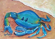 Crab on the beach painting by paintings by gretzky Crabs On The Beach, Crab Art, Pet Mice, Watercolor Art Paintings, Flower Artwork, Video Pink, Painted Rocks, Fine Art America, Colours