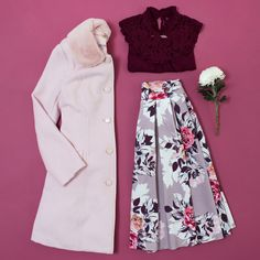 Your must-have winter colours are here: soft pastels and rich shades of wine. Pictured here the Stables Coat, Libby Top and Elderberry Skirt Review Fashion, Mix Match, Skirt Outfits, Fashion Details, Style Inspiration, Style Ideas, High Waisted Skirt, Winter Fashion, Women Wear