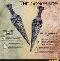 dnd ideas campaign [OC] The Songbirds: Homebrew Magical Daggers - DnD Dnd Dragons, Dungeons And Dragons Characters, D&d Dungeons And Dragons, Dnd Characters, Fantasy Rpg, Dark Fantasy, Game Master, Dnd Stories, Horror Stories