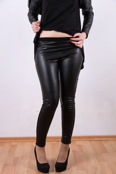 Faux Leather Leggings Leather Pants Black Leggings by by JMSTYLE