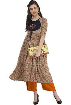 Buy Sanjali Band Collar Printed Tiered Anarkali kurta for Girls & Women's (Multicolour) at Amazon.in Juicy Couture Bracelet, The 5th Of November, Looking Stunning, Anarkali, Kerala, Nice Tops, Daily Wear, How To Look Pretty, Kurti