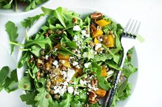 Spiced Butternut Squash, Lentil and Goat Cheese Salad (autumn, winter ...
