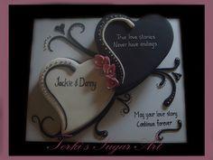 Jackie and Danny's Engagement Fondant Flower Cake, Fondant Bow, Cupcake Cakes, Fondant Cakes, 3d Cakes, Anniversary Cake Designs, Wedding Anniversary Cakes, Heart Shaped Cakes, Heart Cakes
