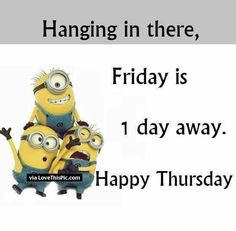Best funny Minions, Best funny Minions of the hour, Free Best funny Minions, Cute Best funny Minions, Today Best funny Minions Thursday Quotes, Its Friday Quotes, Happy Thursday, Thursday Humor, Happy Friday, Minions Images, Minion Pictures, Minions 1, Funny Minion Memes