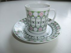Vintage Swedish 1950s coffee cup and saucer Desirée by Upsala Ekeby Karlskrona by AnnChristinsVintage on Etsy