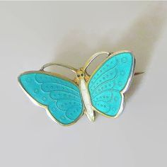 Butterfly Pin, Teal Green White Enamel, Norway Sterling, Aksel... (€43) ❤ liked on Polyvore featuring jewelry