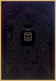 Beautiful & Modern Graphic Design Chanel Poster Ad by Valentina Badeanu Graphic Design Poster Poster Design, Graphic Design Posters, Modern Graphic Design, Graphic Design Typography, Graphic Design Inspiration, Branding Design, Web Design, Design Art, Illustration Arte