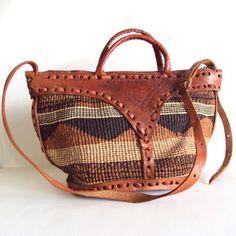 Vintage Woven Jute n Leather Tribal HandBag