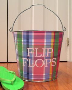 Multi Plaid Flip Flop Bucket - Personalized Buckets & Bins - Seasons Gifts and Home