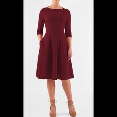 """Shop Women's eshakti Red size 24W Dresses at a discounted price at Poshmark. Description: New Eshakti deep red knit fit & flare dress 24W Measured flat: Underarm to underarm: 48"""" Waist: 44-50"""" Length: 44"""" Sleeve: 19"""" Eshakti size guide for 24W bust: 51"""" slips on overhead, high boat neckline, seamed light elastic waist. Flared skirt w/ side seam pockets.. Cotton/spandex, jersey knit, light stretch, light structured feel, mid-weight, machine wash New w/cut out Eshakt..."""
