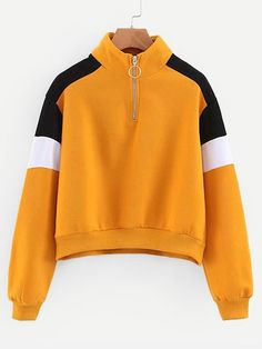 To find out about the Contrast Panel Zip Front Pullover at SHEIN, part of our latest Sweatshirts ready to shop online today! Stylish Hoodies, Pullover, School Outfits, Blouses For Women, Ladies Blouses, Hooded Sweatshirts, Autumn Fashion, Cute Outfits, Fashion Outfits