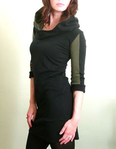 half+sleeved+hooded+tunic+dress+Black/Olive+Green+by+joclothing,+$70.00