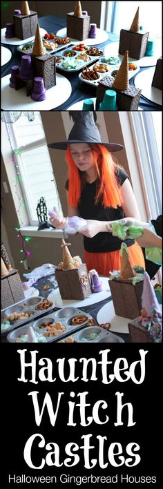 Similar to gingerbread houses at Christmas, make Haunted Houses or Witches Castles at Halloween with chocolate graham crackers and ice cream cones! LOVE this.