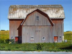 Michigan Barn acrylic on canvas Out on route west of Traverse City, MI. American Barn, Traverse City, Photorealism, Historical Architecture, Covered Bridges, Rustic Interiors, Log Homes, Stables, Outdoor Structures
