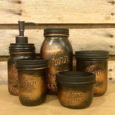 Vintage Mason Jar Bathroom Set, Black Copper Bathroom Set, Rustic Copper Mason Jar Desk Set, Mens Rustic Copper Bathroom Accessories