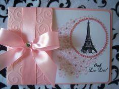 Blush pink with gemstones, Paris themed invitation