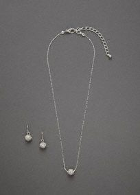 "This beautiful pave embellished necklace and earring set offers an updated look to a classic style. The pave ball drop earrings complement the pave ball pendant perfectly offering just the right amount of sparkle. This set is sure to give you that subtle, yet special look you were going for.  Pave fireball set features hook ball earrings and a simple chain necklace with lobster claw clasp.  Necklace measures 16""long + 3"" extender.  Imported.  Available in Silver."