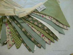 Vintage style sage green & cream floral wedding birthday party fabric bunting 3m   eBay