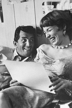Dean Martin rehearsing a scene with Shirley MacLaine, photographed by Allan Grant