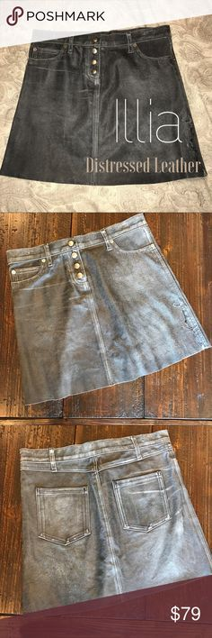 "Distressed Grey Learher Skirt, Small Beautifully distressed leather skirt by ILLiA.  Measures 15.5"" across waist and 16"" in length. Illia Skirts"